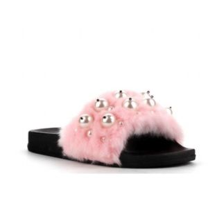 Shoes - New in box Faux fur & pearl Pink slides